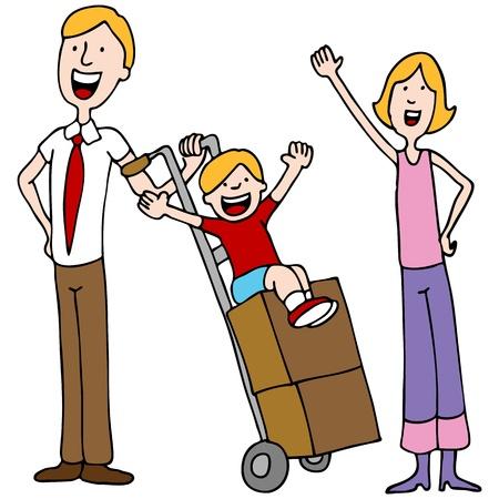 camion caricatura: Una imagen de una familia a punto de moverse.