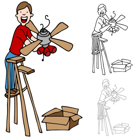 An image of a man on a ladder installing a ceiling fan. Vector