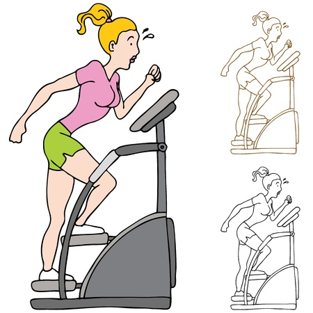 work out: An image of a woman exercising on a stairclimbing machine.
