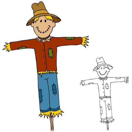 straw hat: An image of a scarecrow man.