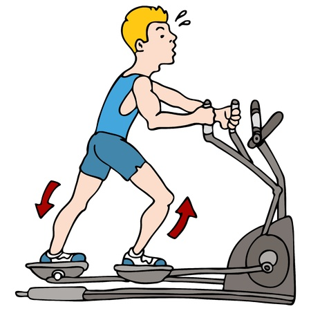An image of a man exercising on an elliptical machine. Vector