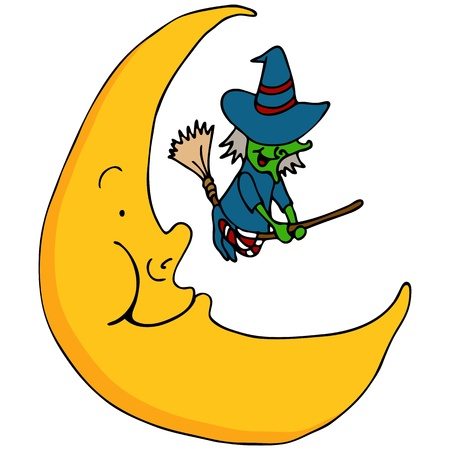 crescent: An image of a witch flying across the moon.