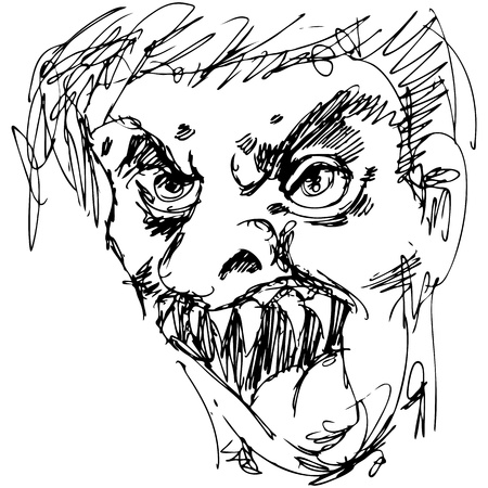 scary face: An image of a monster face with sharp teeth.