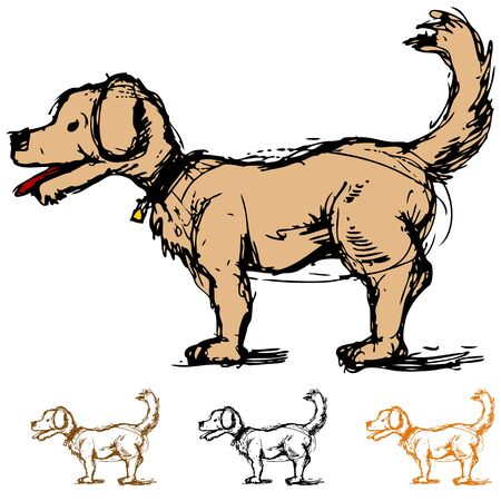 profile: An image of a sketch of a cartoon dog in a profile view. Illustration