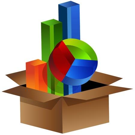 verhuis dozen: Een afbeelding van zakelijke grafieken uit een doos komen.