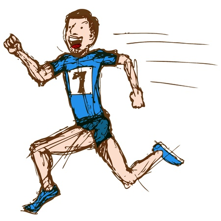 An image of sketch drawing of a male runner.