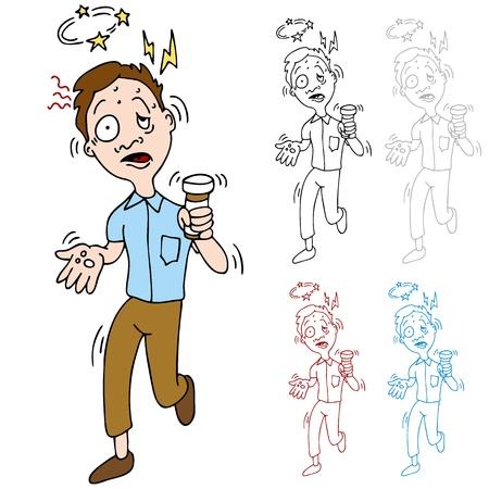 overdosering: Een beeld van een man ervaart bijwerkingen van zijn medicijnen. Stock Illustratie