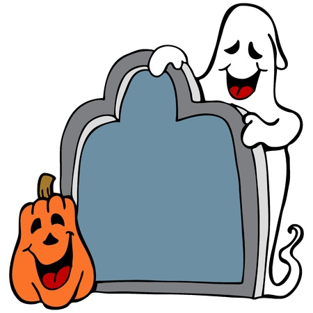 An image of a halloween ghost with pumpkin and tombstone. Illustration