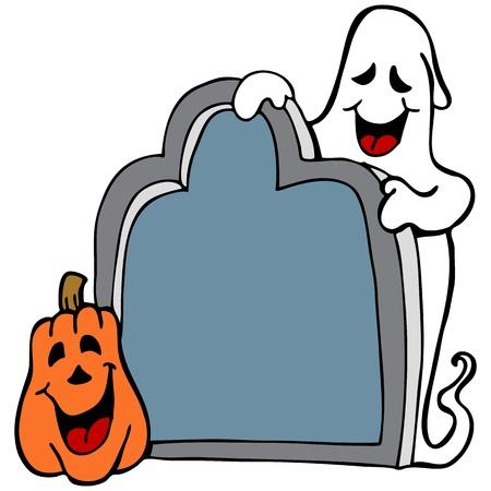 Una imagen de un fantasma de halloween con calabazas y desecho. Foto de archivo - 10877496