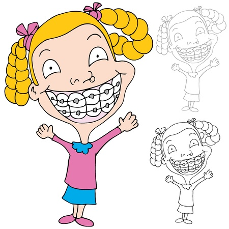 An image of a girl wearing braces. Illustration