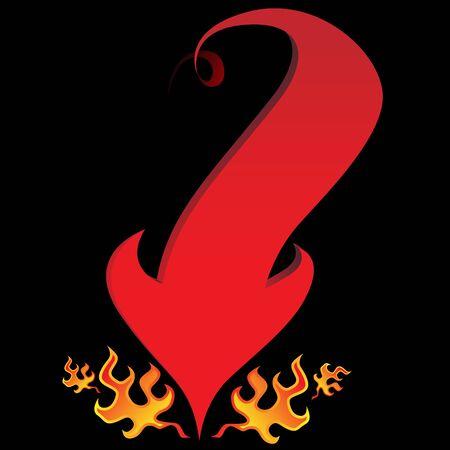 黒い背景上の炎を持つ悪魔尻尾矢印のイメージ。  イラスト・ベクター素材