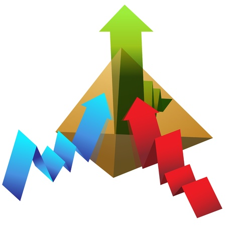 An image of a pyramid with line chart arrows. Vector