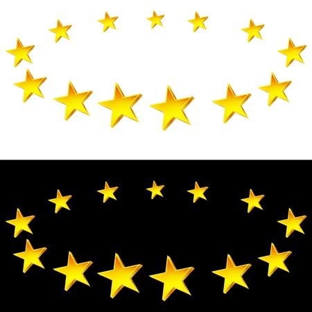 Een beeld van een set van sterren op halovorming. Vector Illustratie