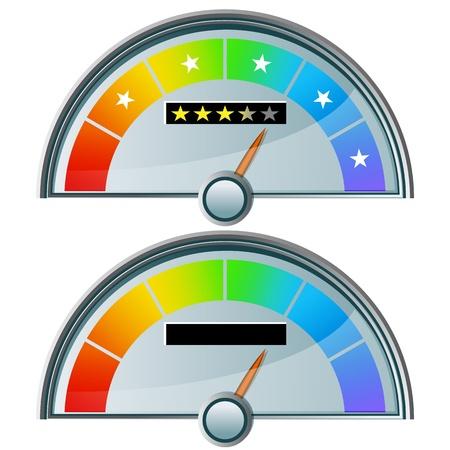star rating: L'immagine di un misuratore di cinque stelle. Vettoriali
