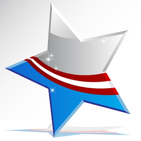 silver stars: An image of a american themed star icon. Illustration