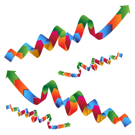 An image of a set of wavy ribbon profit arrows. Stock Vector - 11012183