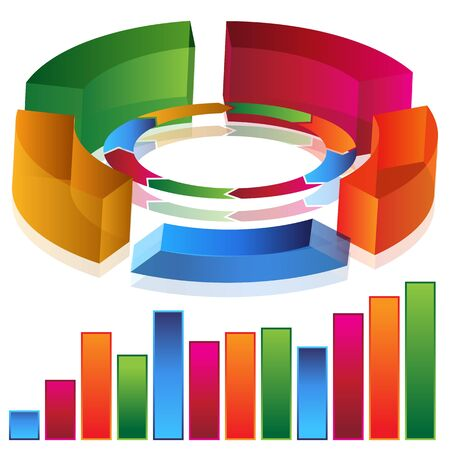 three dimensional shape: An image of a 3d productivity bar chart.