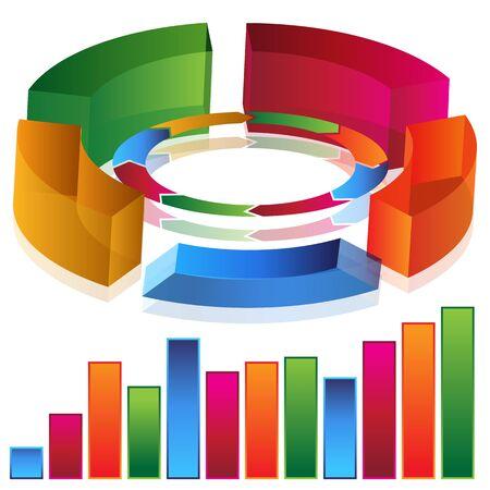 Ein Bild von einer 3d Produktivität Balkendiagramm. Vektorgrafik