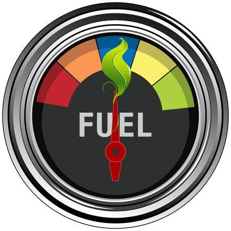 An image of a green leaf fuel gauge.