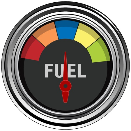 An image of a chrome fuel gauge.