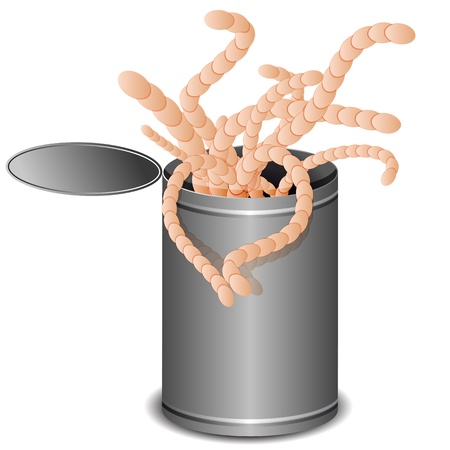 An image of a can of worms. Illustration