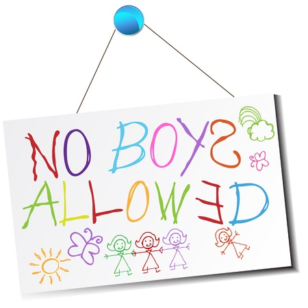 pushpins: An image of a childs no boys allowed sign. Illustration
