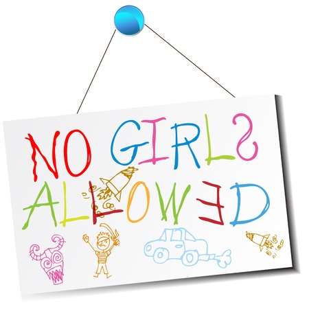 no image: An image of a childs no girls allowed sign. Illustration