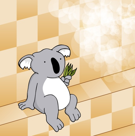 An image of a cute koala eating leaves in a steam room.