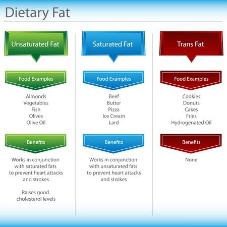 An image of a dietary fat chart. Ilustração