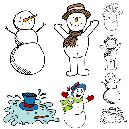 An image of a cartoon snowman set.