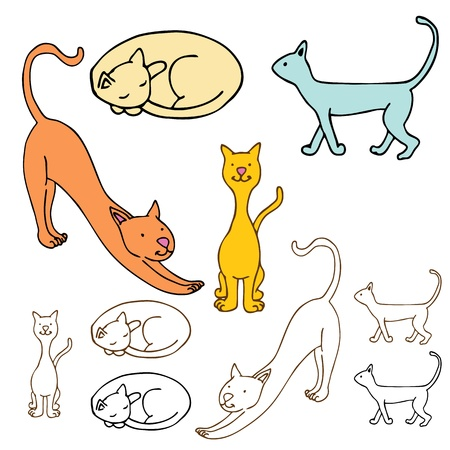 cat stretching: An image of a cartoon cat set.