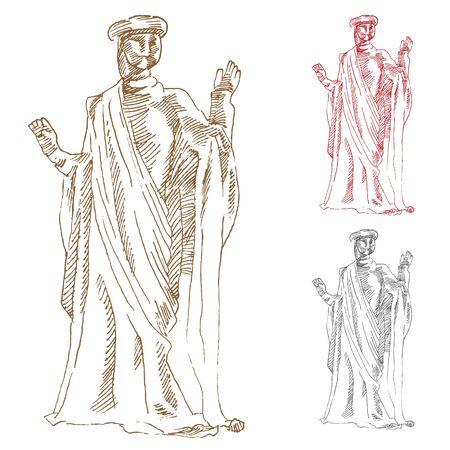 An image of a classic greek statue Çizim