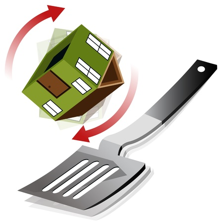 An image of a house being flipped on a spatula. Vector