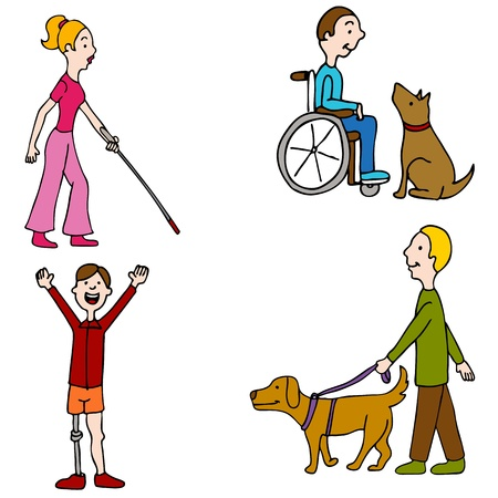 An image of a group of disabled people. Vector