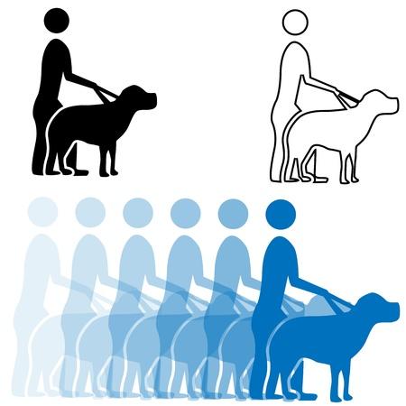 mirando: Una imagen de un hombre ciego y su perro gu�a ojo.