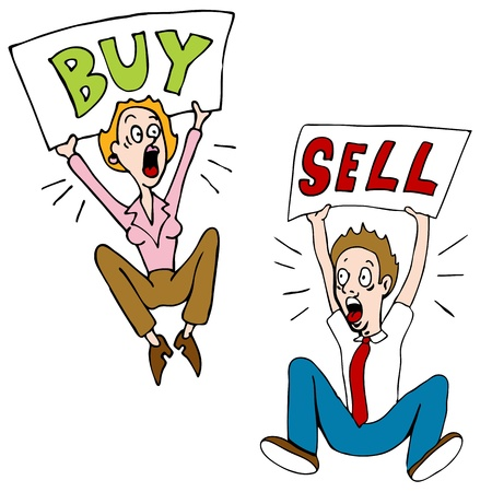 An image of a stock market investors with buy sell signs. Stock fotó - 11271848