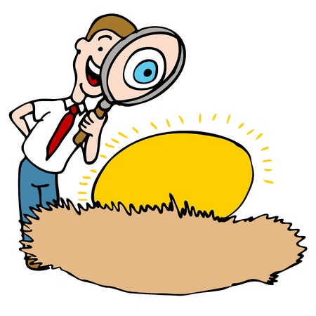 inspecting: An image of a man using a magnifying glass to look at a nest egg.