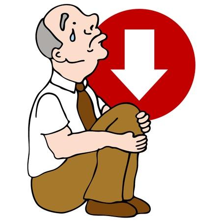 An image of a senior businessman sad over a bad investment. Ilustração