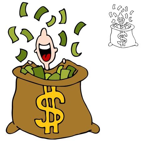 hombre cayendose: Una imagen de un hombre de la captura de dinero que caen del cielo.