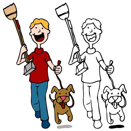 An image of a man walking dog holding a pooper scooper. Çizim