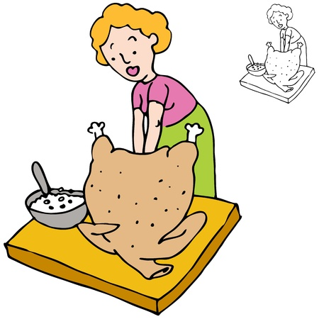 stuffing: An image of a woman stuffing a turkey. Illustration