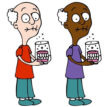 dientes caricatura: Una imagen de un hombre de la limpieza de su dentadura postiza. Vectores
