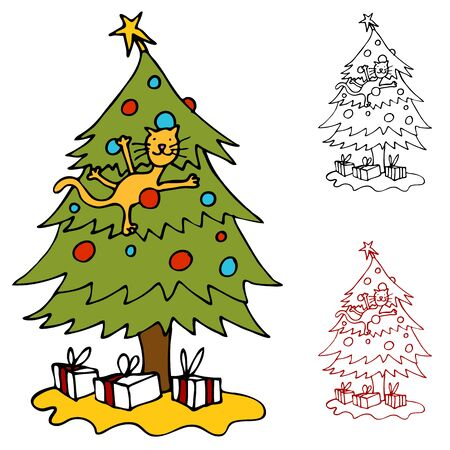 christmas tree illustration: An image of a cat climbing a Christmas tree.