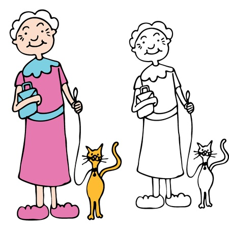 An image of a senior woman walking cat on a leash. Vector