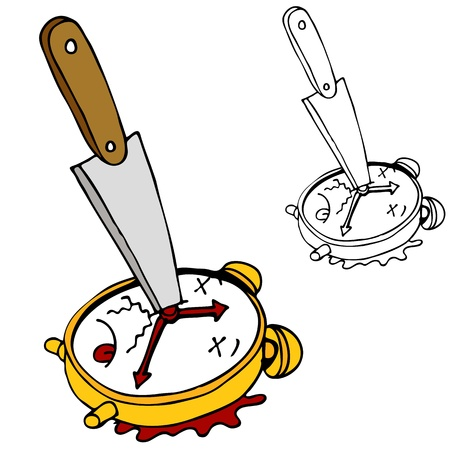 stabbed: An image of killing time with a clock stabbed with a knife.
