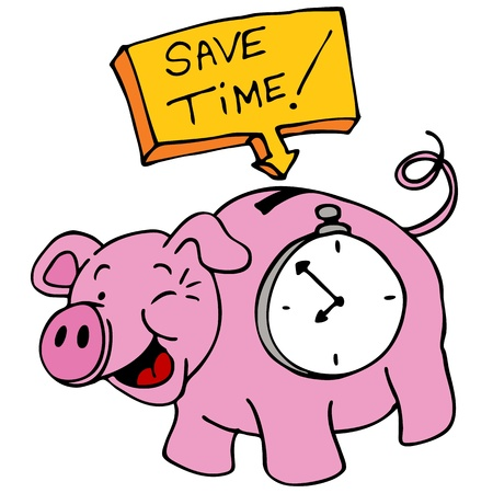 An image of a save time piggy bank with a clock inside his belly. Vector