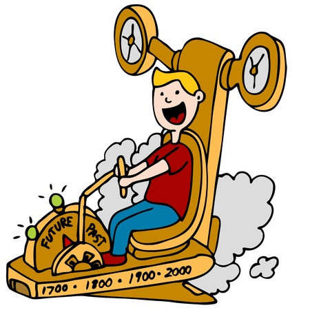 An image of a man using a time machine. Illustration