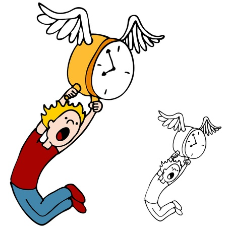 An image of how time flies with a man holding on to a flying clock.