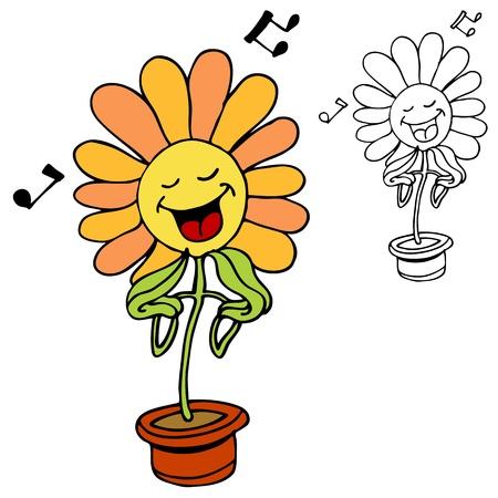 歌う花のイメージ。