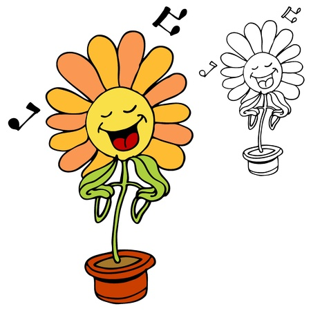 An image of a singing flower. Vector
